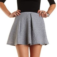 Quilted & Pleated Skater Skirt by Charlotte Russe - Med Gray