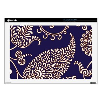 Damask vintage paisley girly floral henna pattern decals for laptops