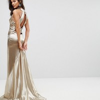 Jarlo High Neck Fishtail Maxi Dress With Strappy Open Back Detail at asos.com