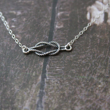 Sterling Silver Love knot necklace// nautical knot //