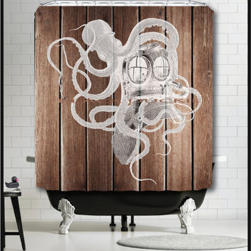 Octopus Diver Helmet on rustic wood Shower Curtain - nautical white octopus scuba diver shower curtain