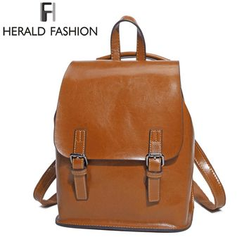 Genuine Leather Backpack Vintage College School Backpack For Teenage Girl Women's Natural Leather Backpack