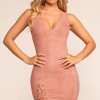 Sierra Lace Up Dress - Mauve