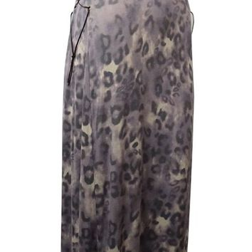 Guess Women's Leopard-Print Laced-Side Knit Maxi Dress