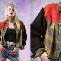 vtg plaid suede leather stitch jacket, womens outerwear, vintage 80's 90's, tumblr american apparel soft grunge vaporwave aesthetic fashion
