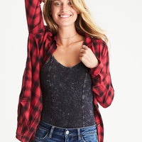 AEO Plaid Boyfriend Shirt, Red