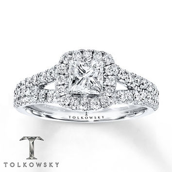 Tolkowsky Engagement Ring 1 3/8 cts tw Diamonds 14K White Gold