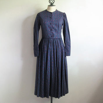 Vintage 1980s Laura Ashley Dress Dark Purple Paisley Cotton-Wool 80s Designer Dress 8