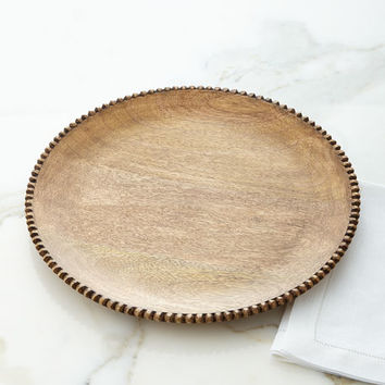 GG Collection Wood Beaded Charger Plates, Set of 4