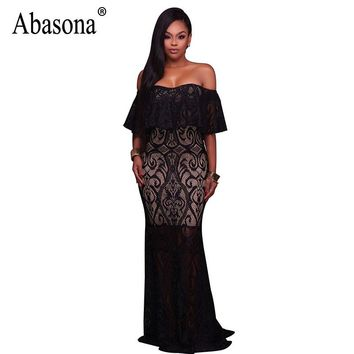 Abasona Women Evening Party Dresses Sexy Yellow Black White Lace Dress Off Shoulder Hollow Out Crochet Long Mermaid Dress Women