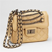 HauteChicWebstore Quilted Vegan Leather Crossbody Bag for Women Beige at www.shophcw.com