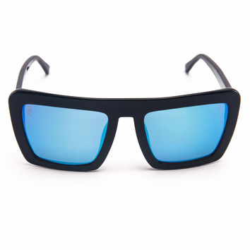 Benson - Dusk - Black with Blue Mirrored Lens Oversized Square Wayfarer