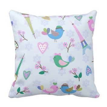 Kawai,cute,paris,trendy,floral,vintage,girly,fun, Throw Pillows