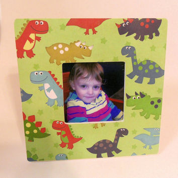 "Cute Dinosaurs And Green Stars Wooden Photo Frame - 3.75"" x 3.75"" Opening"