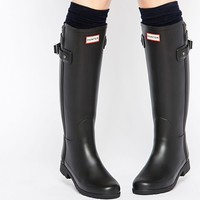 Hunter Original Refined Back Strap Black Wellington Boots at asos.com