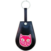 Soft and Colorful Embossed Genuine Leather Keychain - Cat