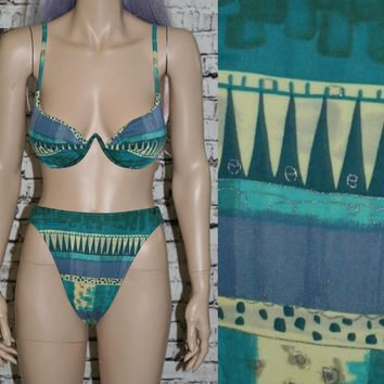 90s high waist bikini swimsuit tribal print green blue gold / grunge festival hipster cyber pastel goth hippie boho bra top push up s