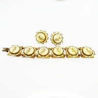 Siam Dancer Bracelet & Earrings, White and Gold Tone Brass Setting with Button Style Links and Screw Backs Art Deco Era Vintage 1930s 1940s