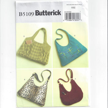 New Butterick 5109 Pattern for Large Lined Tote Bags in 4 Styles, FACTORY FOLDED, UNCUT, From 2007, One Size, Home Crafts, Home Sew Pattern