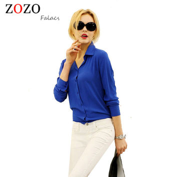 Women  Button Solid Color 2015 Autumn New Long-sleeves Shirt Female Chiffon Turn Down Collar Tops