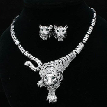 Clear Crystal Tiger Necklace And Earring Set