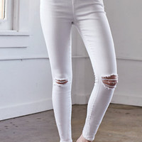Bullhead Denim Co. Worn White Ripped Mid Rise Skinny Jeans at PacSun.com