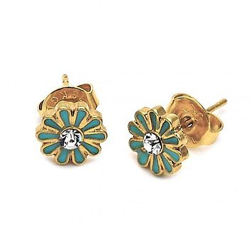 Gold Layered 02.64.0221 Stud Earring, Flower Design, with White Crystal, Turquoise Enamel Finish, Gold Tone