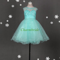 cute tulle bridesmaid dresses with sequins and crystals / short simple homecoming gowns hot / cheap girls dress for holiday party