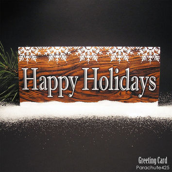 HAPPY HOLIDAYS Greeting Card, wood print with snow, typographic card, rustic, Christmas card