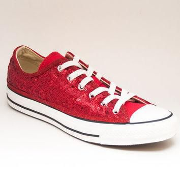 Sequin Custom Seaweed Sequin Red Canvas Converse Low Top Sneakers Tennis Shoes