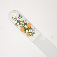 Czech Crystal Pedicure File Painted Orange Blossoms Soft Black Case