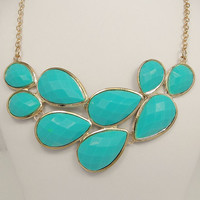 High Quality Gold Tone Statement Necklace, Turquoise Bib Bubble Necklace, Cluster Necklace, Chunky Necklace-116366670