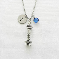 Seattle Space Needle Necklace, Pewter Charm, Seattle Tower Landmark, Travel, Swarovski Birthstone,Personalized Monogram,Hand Stamped Initial