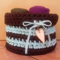 Zpagetti basket Brown bowl, blu basket, basket crochet hooked