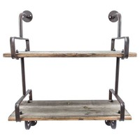 Rusty Industrial Shelf with Wood Planks | Hobby Lobby