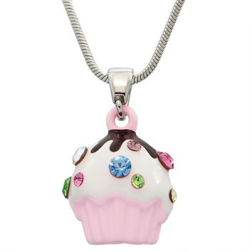 Gemmed Cupcake Necklace