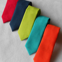Navy, Red, Teal, Orange, or Lime Green Tie - Skinny or Standard Width - Infant, Toddler, Boy