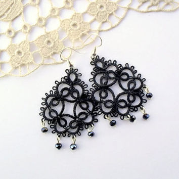 victorian tears earrings, black, handmade lace, elegant, tatted, made to order