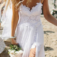 Hot Sleeveless Short Lace Evening Party Prom Beach Wedding Dress