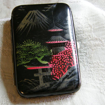 Vintage enameled cigarette case with Japanese design marked FOREIGN