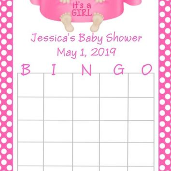 10 It's A Girl Baby Shower Bingo Cards Light Skin
