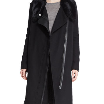 Asymmetric Fur-Collar Coat, Size: