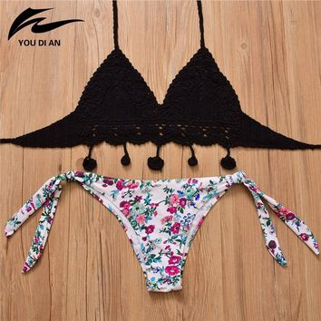 2018 Summer Crochet Bikini Knitted Top Sexy Swimsuit Floral Print Bottom Low Waist Bikini Halter Swimwear Women Bathing Suit