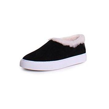 Tory Burch Miller Shearling Suede Slip On Sneakers In Black