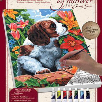 "puppy & flowers paint by number kit - 9"" x 12"""