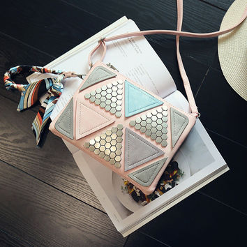 Women's Patchwork Messenger Bags Ladies Tote Small shoulder Bag Woman Brand PU Leather Rivet Envelope Crossbody Bag with Scarf
