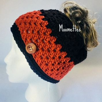 Handmade Messy Bun Hat Brown Orange Stripe Beanie Crochet Wood Button Runner Jogger Ponytail