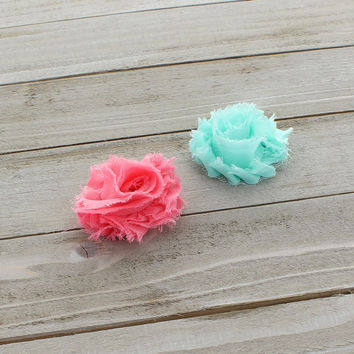 Shabby Rose Baby Hair Flower Clip Pair