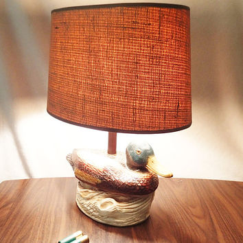 Vintage Rustic Table Lamp Mallard Duck burlap lamp shade Rustic Home decor cabin, man cave, rec room, hunting shack.