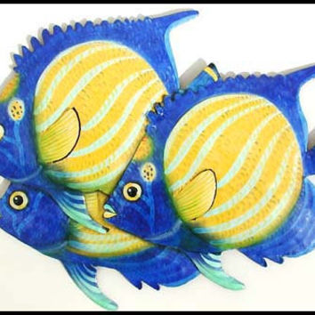 Tropical Fish Metal Wall Art - Brightly Hand Painted Metal Art, Garden Decor - Metal Wall Hanging - Tropical Poolside Decor - K-191-16